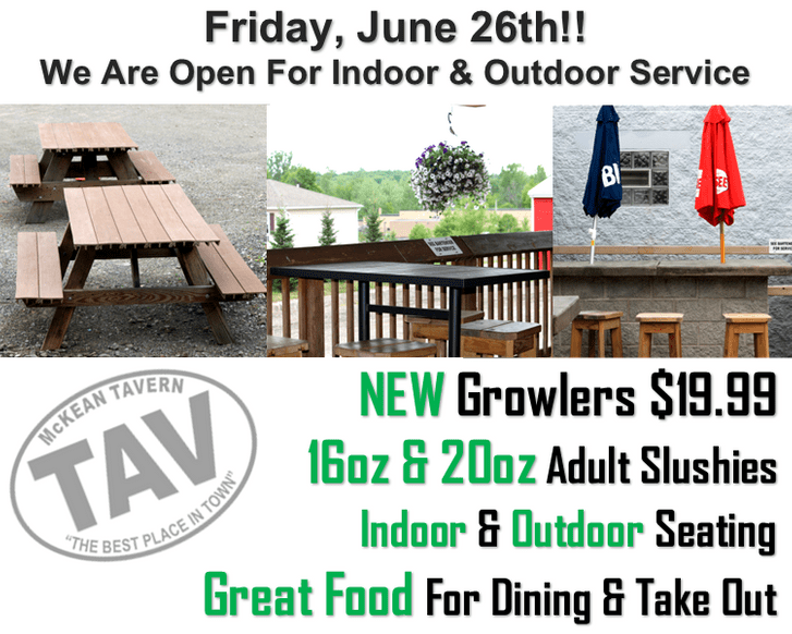 Erie, PA is Going Green! Indoor Seating Available on Friday, 6/26/2020